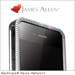 NEW YORK, N.Y. /New York Netwire/ -- James Allen, a leading online bridal jewelry retailer, has announced the giveaway of a one-a-kind diamond and ruby encrusted iPhone case and iPhone 4S on their Facebook page.