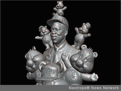 NEW YORK, N.Y. /New York Netwire/ -- With 'Brooklyn Monument: Jay Z Cares' pop-artist Daniel Edwards depicts Jay Z as a Care Bear pal with Funshine Bear on the rap mogul's shoulder wearing Leather Boxing Shorts from the Barneys New York collection, accompanied by six designer ornaments to be auctioned on eBay, with a share of the proceeds going to an organization that supports the ACLU's policies against racial profiling. The work will be unveiled online this week, announced Cory Allen Contemporary Art.